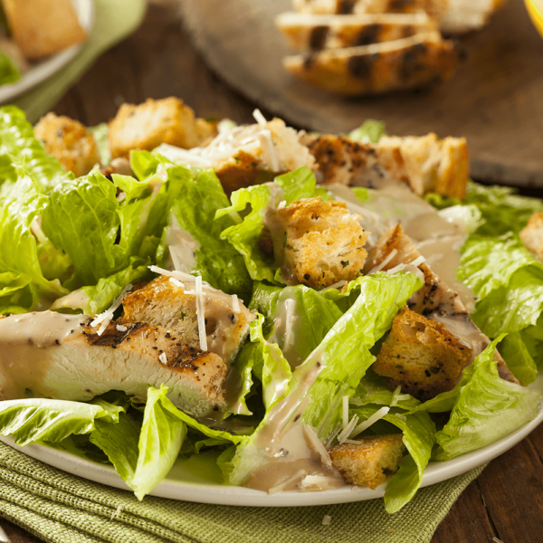 Crisp romaine leaves, shaved Romano cheese, creamy caesar dressing, croutons and a choice of grilled chicken
