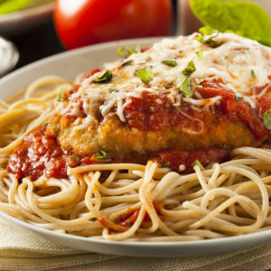 Lightly breaded with mozzarella cheese and marinara sauce served with a side order of pasta