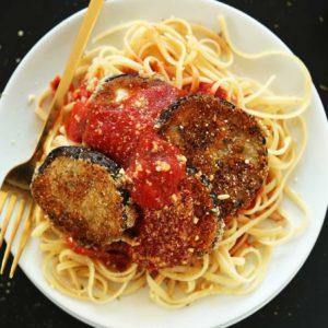 Spaghetti pasta, breaded eggplant, provolone cheese and marinara sauce
